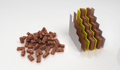 Muro isolante, efficienza energetica, mattoni, strati