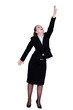 Businesswoman reaching up