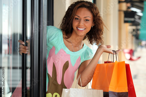 Pretty young woman shopping