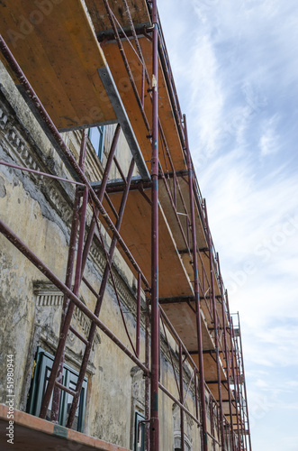 Scaffold on old house
