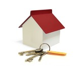House with keys, home ownership concept poster