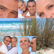 Collage of a couple at the beach