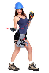 sexy female electrician holding a measurement tool