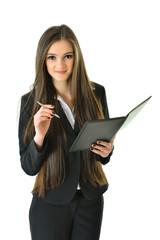 Business Woman Holding Pen