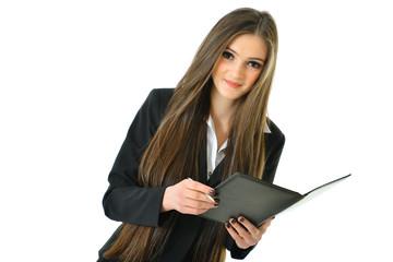 Business Woman Holding Portfolio