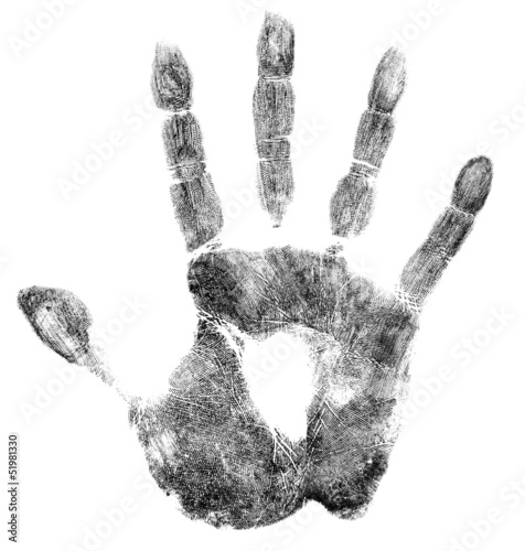 Palm or hand print isolated on white