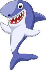 Cute shark cartoon waving