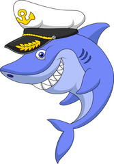 Shark captain cartoon