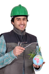 A plumber promoting ecology.