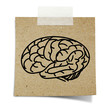 drawing brain note taped recycle paper on white background