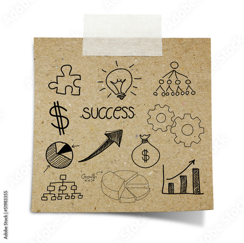 drawing business chart note taped recycle paper on white backgro