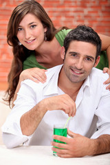 Couple with cocktail