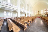 Benches and altar in Evangelical Lutheran Cathedral poster