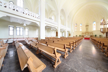 Benches and altar in Evangelical Lutheran Cathedral