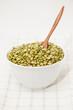 Green peas split in a bowl.