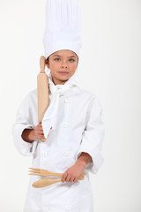 Girl dressed as a cook
