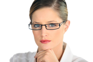 Professional woman in a striking pair of glasses