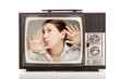 girl inside a retro television
