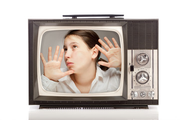girl inside a retro television
