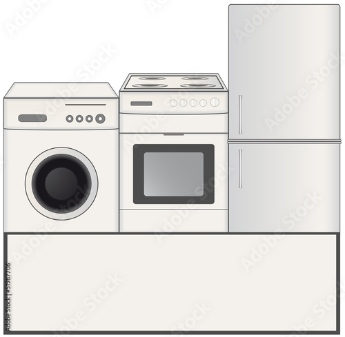 background with gas stove, washing machine and refrigerator