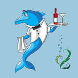 The dolphin is the waiter