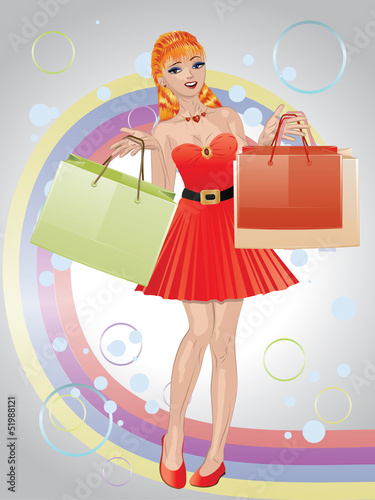 Shopping girl with red hair