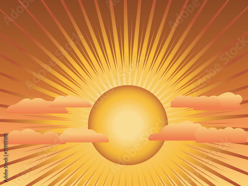 Sun with rays and clouds