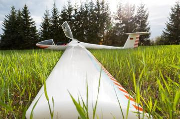 Segelflugzeug nach der Landung