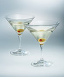two glasses martini with olive. cocktail isolated
