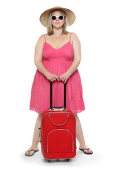 Happy overweight woman going to vacations.