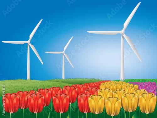 Wind turbine on tulip field