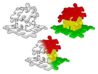 Sketch and illustration of house building from puzzle