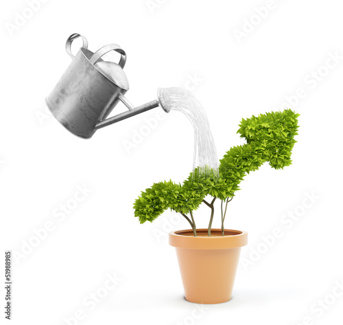 Watering a potplant shaped like a graph