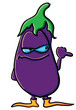 Funny cartoon eggplant is indicates
