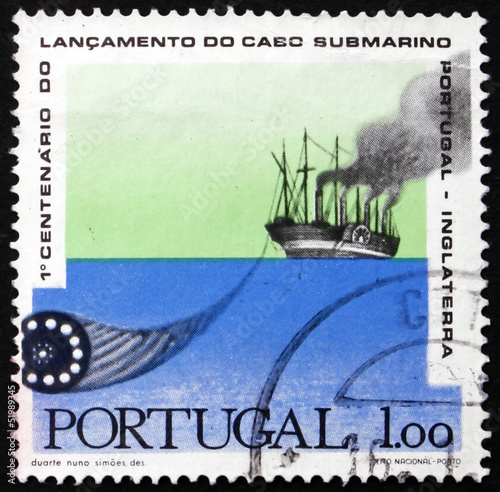Postage stamp Portugal 1970 Paddlesteamer Laying Cable