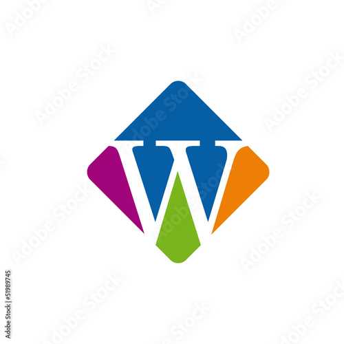 Vector color logo initial letter W