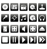 White media icons on black squares