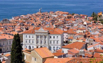View of Piran and the Adriatic Sea
