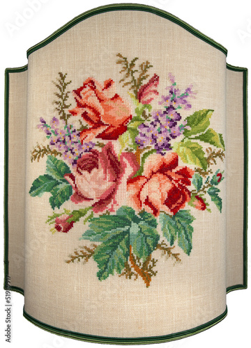 Vintage Embroidery - Roses Flowers and Leaves