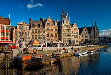 Nice houses in the old town of Ghent, Belgium