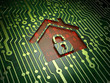Privacy concept: Home on circuit board background