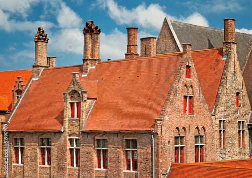 Typical houses in the old town of Bruges, Belgium