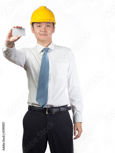 construction worker holding name card