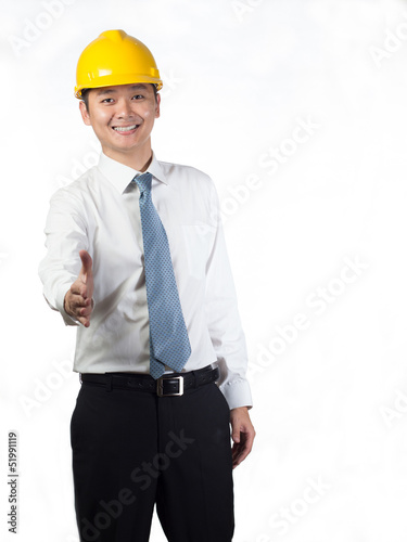 construction executive hand shake