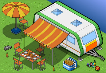 Isometric Roulotte in Camping in front view