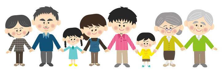 手をつなぐ家族