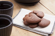 delicious chocolate heart shape biscuits with tea