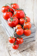 Delicious red ripe tomatoes on the vine in a crate