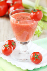 Healthy vegetable smoothie with tomatoes and celery