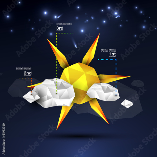Origami sun and clouds design